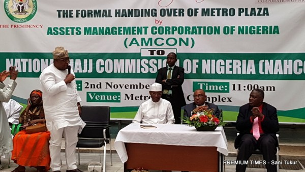The Asset Management Company of Nigeria, AMCON, on Thursday handed over the Metro Plaza building in Abuja to the National Hajj Commission of Nigeria, NAHCON.