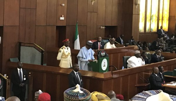 President Muhammadu Buhari presenting the 2018 Appropriation Bill to lawmakers.