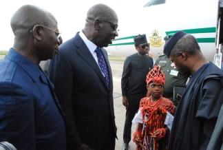 Governor Godwin Obaseki welcomes Vice President Yemi Osinbajo