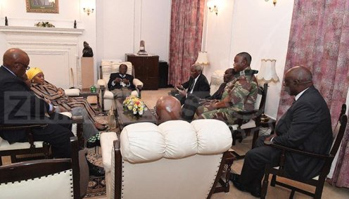 President Mugabe meets ZDF Commander and SA envoys at State House [Photo Credit: herald.co.zw]