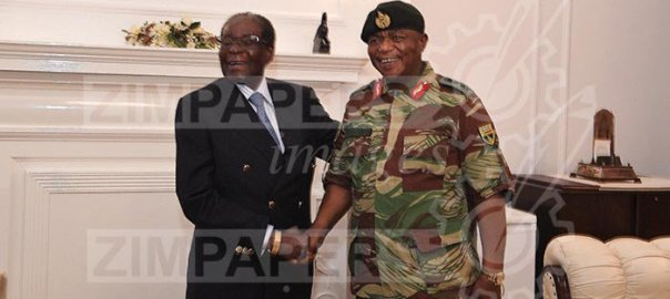 President Mugabe chats with ZDF Commander General Constantino Chiwenga at State House 16 November 2017. [Photo Credit: herald.co.zw]