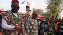 Governor of Ekiti state, Ayodel Fayose and Former governor of Anambra state, Peter Obi. [Photo credit: Emmanuel Ngini]