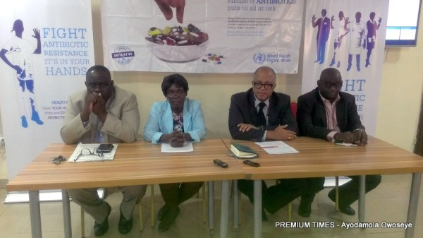 L-R Joshua Obasanya, Director Disease Prevention and Programs Coordinaton, (AMR focal point), NCDC, Dooshiwa Kwange Department of vet and pest control services, Fed ministry of agriculture and rural development, Chikwe Ihekweazu, National Coordinator/Chief Executive Officer NCDC, Omotayo Hamzat, National Professional Officer Essential Drugs and Medicine, WHO