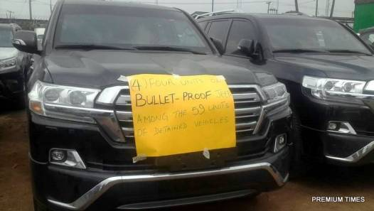 One of the four seized bullet-proof vehicles.