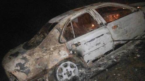 The car that was set ablaze