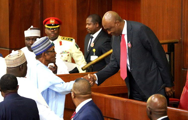 President Muhammadu Buhari exchanging pleasantries with Senate President, Bukola Saraki during the 2018 Budget presentation