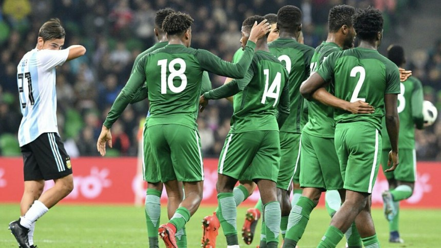 Nigeria Super Eagles celebrating in their Match with Argentina