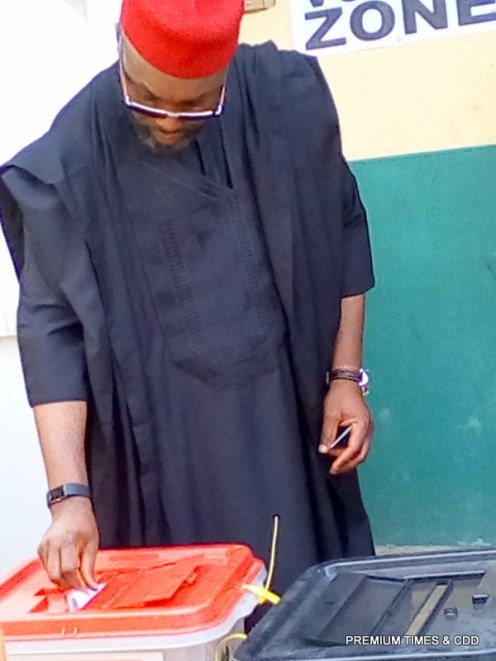 The UPP candidate Osita Chidoka voting at 10.15am at his polling unit at Central School Obosi
