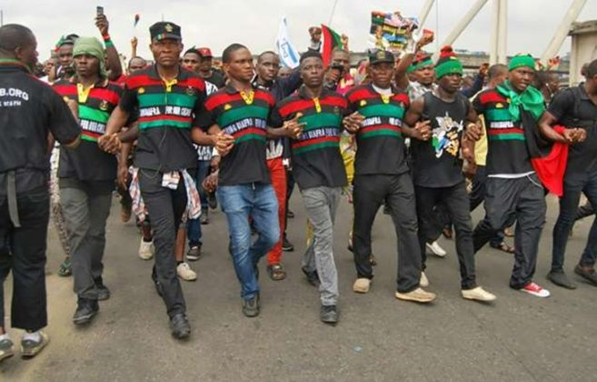 File photo of IPOB members demonstrate in Onitsha. [Photo credit: NAN]