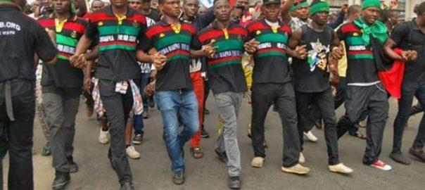 IPOB members demonstrate in Onitsha. [Photo credit: NAN]