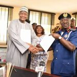 Left to Right: Prof. Umar Garba Danbatta, Executive Vice-Chairman/CEO of Nigerian Communications Commission (NCC); and Abdullahi Gana Muhammadu, Commandant-General of the Nigerian Security and Civil Defence Corps (NSCDC) during the sinning of MOU on Monday