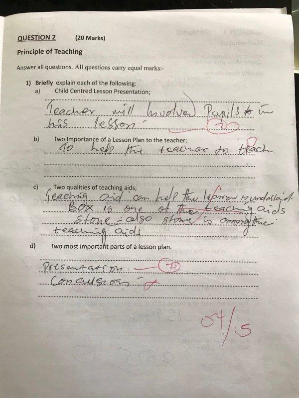 Kaduna Teachers Answer sheet - Released by Kaduna state government