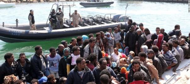 Migrants in Libya hoping to cross to Europe