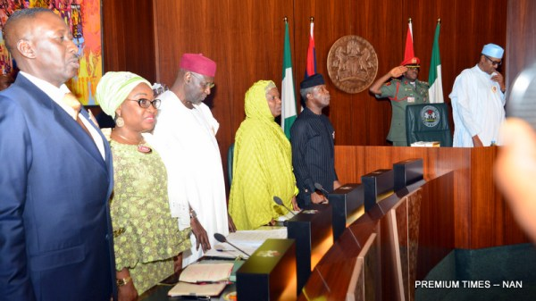 From left: National Security Adviser, retired Brig.-Gen Babagana Mongunu; Head of Civil Service of the Federation, Mrs Winifred Oyo-Ita; Chief of Staff, Alhaji Abba Kyari; Representative of the Seceretary to the Government of the Federation, Dr Habiba Lawan; Vice President Yemi Osinbajo and President Muhammadu Buhari at the Federal Executive Council Meeting in Abuja on Wednesday (8/11/17) 05947/8/11/2017/Callistus Ewelike/NAN