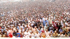 Thousand Muslims gather at the Emir's palace Gombe for the funeral prayers for late Fatima Yelwa Goje. DATE: 9th November, 2017.