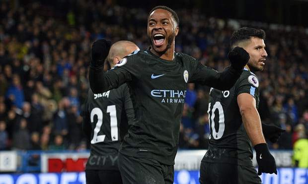 Sterling celebrates scoring City's second. Photograph: Oli Scarff/AFP/Getty Images (Photo Source: Guardian UK)