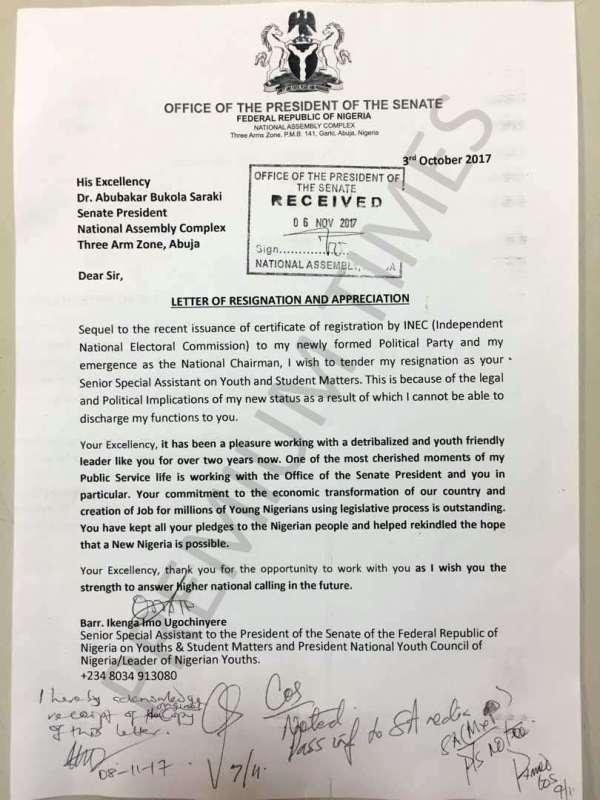 Saraki's aide resignation letter