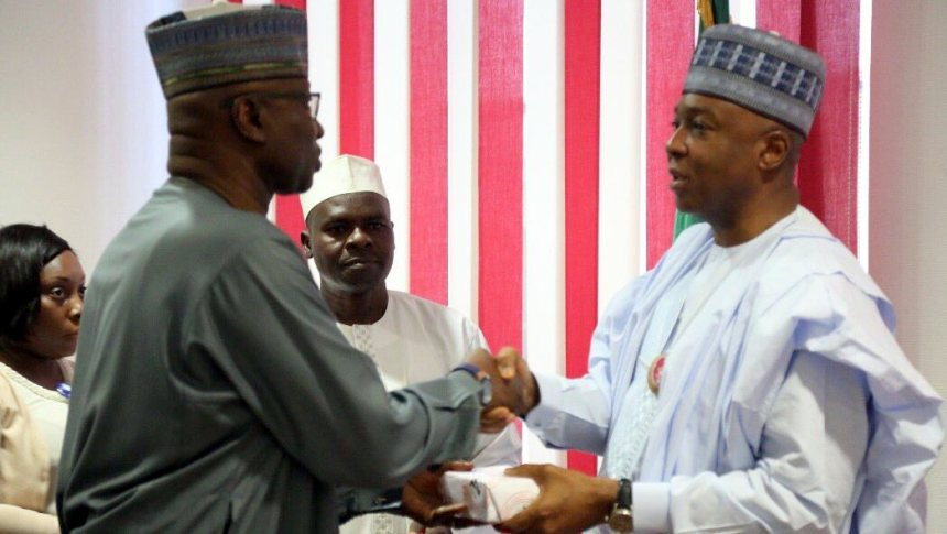 Senate President Bukola Saraki and SGF Boss Mustapha