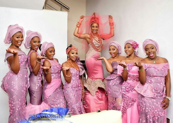 A cross section of the bride, Adesua Etomi and friends [Photo Credit: SCGeorge]