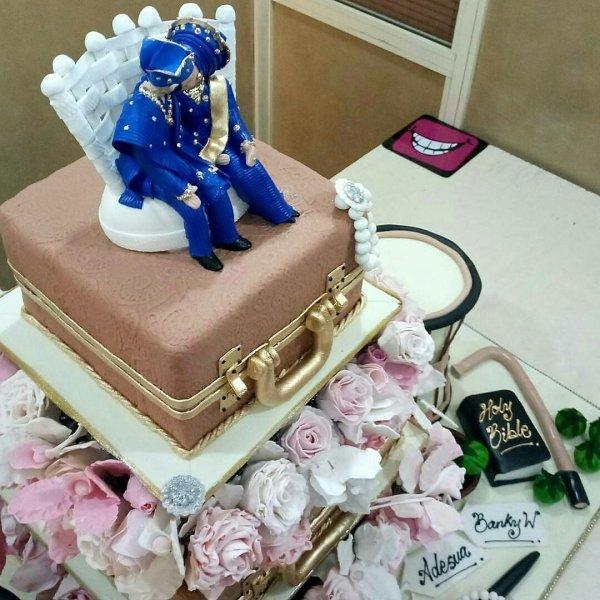 Banky W and Adesua Etomi's wedding cake