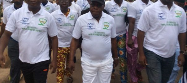 Former President Olusegun Obasanjo participating in a health walk held in Abeokuta,Ogun State capital.
