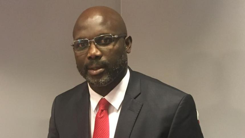 Liberian Senator and 2017 presidential candidate George Weah at RFI studios in Paris, May 2017. [Photo credit: LA Bagnetto & RFI]