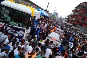 Liberian crowd after the announcement of George Weah as elected president. [Photo credit: Facebook]