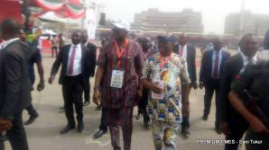 Fayose, Wike walk across the convention ground shortly after the due addressed delegates.