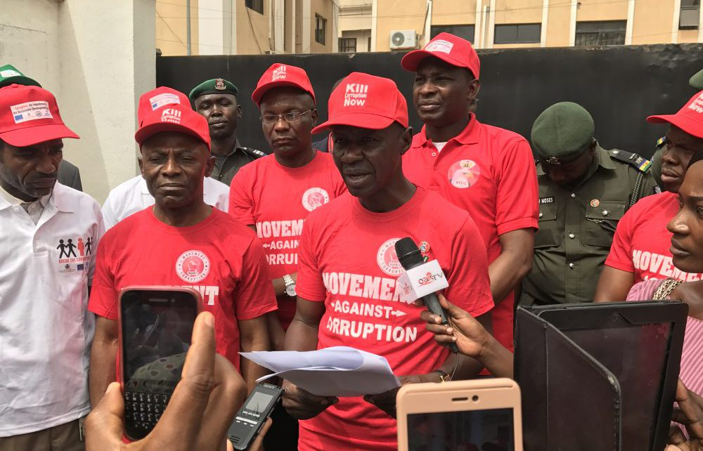 FILE: Acting EFCC Chairman, Mr. Ibrahim Magu addressing the press