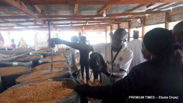 Preparing, bagging and drying of maize. (Photo taken by Ebuka Onyeji)
