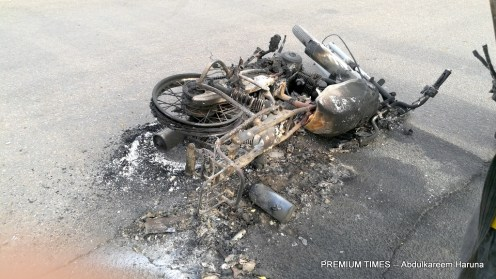 Burnt motorcycle