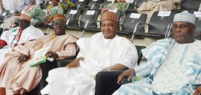 Pic. 8. From left: PDP National Caretaker Chairman, Ahmed Makarfi; former Governor of Niger State Babangida Aliyu; former Vice Presidents, Namadi Sambo; and Atiku Abubakar during the PDP National Convention in Abuja on Saturday (9/12/17). 06680/9/12/2017/Albert Otu/NAN