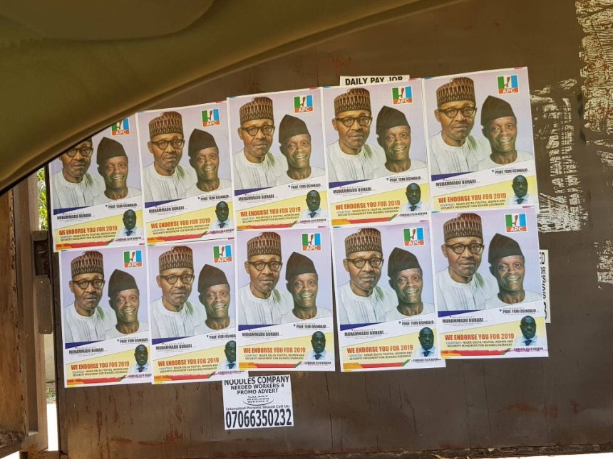 Campaign posters of President Muhammadu Buhari and Vice President, Yemi Osinbajo.