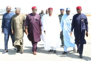 From right; Delta State Governor, Senator Ifeanyi Okowa; Senator Ahmed Makarfi; Governor of Taraba State, Arc. Darius Iskaku; Senator Ben Obi; Senator Abdul Ningi and Hon. Victor Nwokolo, arrival at Minna Airport to Pay courtesy visit on the former President of Nigeria, General Ibrahim Babangida. PIX . JIBUNOR SAMUEL.