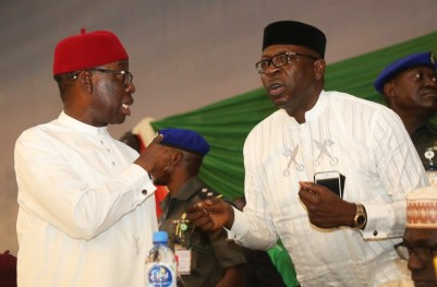 Delta State Governor, Senator Ifeanyi Okowa (left) Pastor Osagie Ize-Iyamu, during the Inauguration of PDP National Convention Organizing Committee, in Abuja. PIX . JIBUNOR SAMUEL