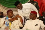From right; Delta State Governor, Senator Ifeanyi Okowa; Pastor Osagie Ize-Iyamu and Arc Darius Ishaku, at the Inauguration of PDP National Convention Organizing Committee, in Abuja. PIX . JIBUNOR SAMUEL