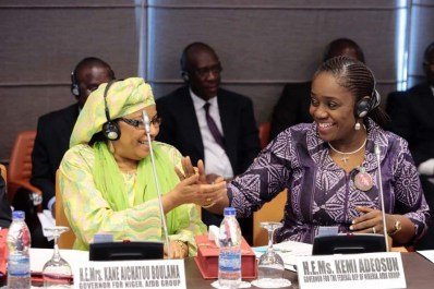 Nigeria's Minister of Finance, Mrs. Kemi Adeosun (right) exchanging greetings with her counterpart from the Republic of Niger, Mrs. Kane Aichatou Boulama, during the regional meeting of the African Development Bank (AfDB) on accelerating Africa's growth and development in Abidjan, Cote d'Ivoire on Saturday, January 13, 2018 Photo: Media Office of the Minister of Finance, Federal Ministry of Finance