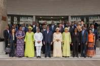 Group photograph by Ministers of Finance from African countries with the President of the African Development Bank, Mr. Akinwumi Adesina and Nigeria's Minister of Finance, Mrs. Kemi Adeosun (second left in front row), during the regional meeting of the AfDB on accelerating Africa's growth and development in Abidjan, Cote d'Ivoire on Saturday, January 13, 2018 Photo credit: Media Office of the Minister of Finance, Federal Ministry of Finance