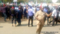 NLC carries on with scheduled protest in Kaduna state despite high presence of security personnels.