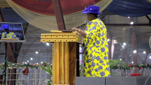 Pastor Mrs Adeboye on the pulpit