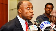 Minister of Transportation, Mr Chibuike Amaechi briefing State House Correspondents after a meeting with President Muhammadu Buhari at the Presidential Villa in Abuja on Tuesday (2/1/18)