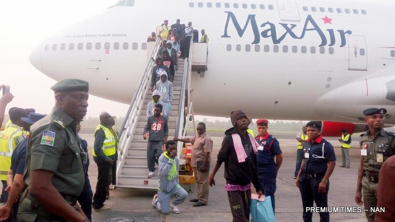 File photo of Nigerians returning from Libya