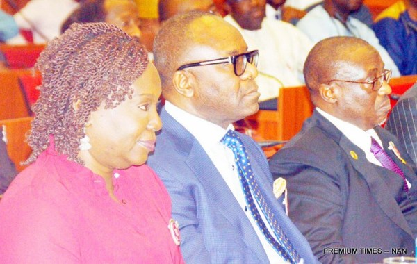 From left: Permanent Secretary, Ministry of Petroleum Resources, Dr Folasade Yemi-Esan; Minister of State for Petroleum Resources, Dr Ibe Kachukwu; and Group General Manager, NNPC, Mr Maikanti Baru, during the Senate Committee on Petroleum Downstream Sector's public hearing on fuel scarcity in Nigeria, at the National Assembly in Abuja on Thursday (4/1/18). 0075/4/1/2018/Hogan Bassey/NAN
