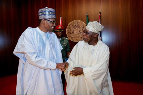 President Muhammadu Buhari with Chief Olusegun Obasanjo