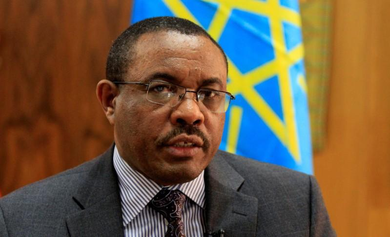 FILE PHOTO: Ethiopian Prime Minister Hailemariam Desalegn speaks during an interview with Reuters at his office in the capital Addis Ababa, October 10, 2013. REUTERS/Tiksa Negeri/File Photo