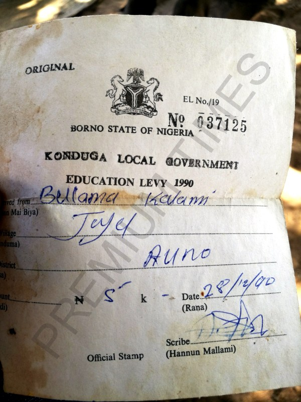 An Education Levy receipt, a proof of payment for schools administrators by Bulama Kallami, yet there is no school for his people