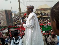 Sule Lamido addressing a crowd gathered at local government PDP office in Birnin Kudu Local Government Area of Jigawa State on Saturday.