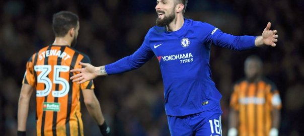 Olivier Giroud celebrates after scoring (Photo Credit: @ChelseaFC on Twitter)