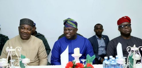 Lagos State Governor Mr. Akinwunmi Ambode (middle); his Enugu State counterpart, Mr. Ifeanyi Ugwuanyi (left) and Lagos State Attorney General/Commissioner for Justice, Mr. Adeniji Kazeem (right) during Gov. Ambode's courtesy visit to the Enugu State Government House, on Thursday, February 1, 2018.
