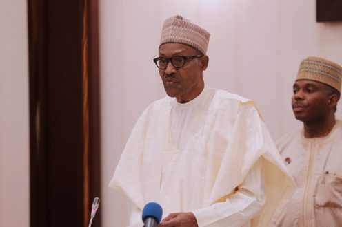 President Muhammadu Buhari addressing the Party chieftains during the Party' 4th National Caucus Meeting held Monday night at the Presidential Villa Abuja. PHOTO; SUNDAY AGHAEZE. FEB 26 2018
